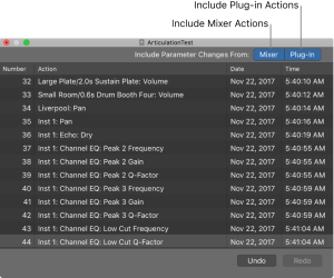 shows the mixer and plug-in buttons selected in the undo history.