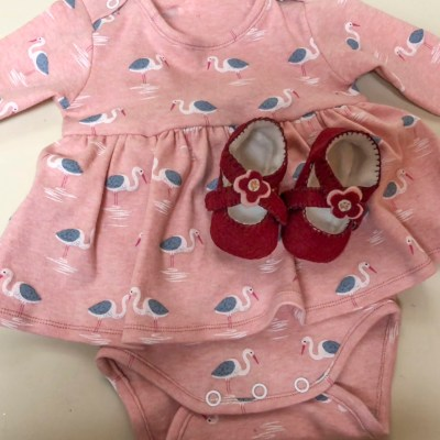 baby dress and felt shoes