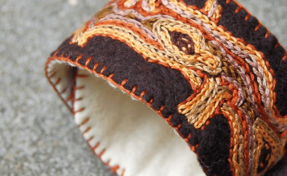 cuff bracelet tan embroidery nature natuur borduren