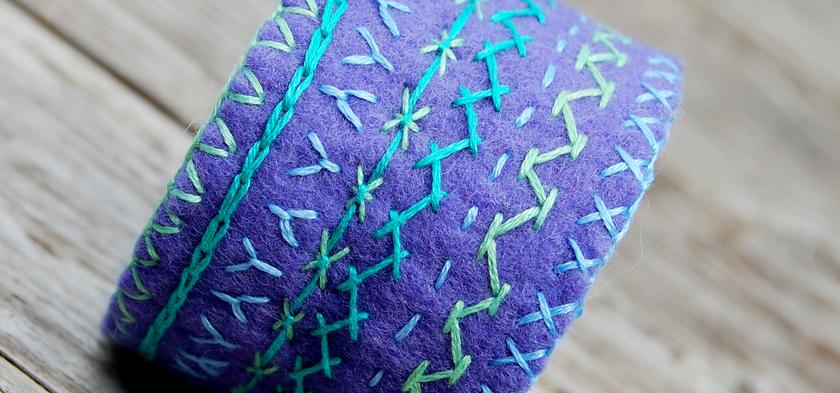 cuff bracelet violet felt embroidery vilt borduren cuff wool buy lavender