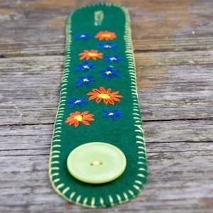 sieraad wol groen kopen Studio Paars bloemen cuff armband bracelet flowers floral