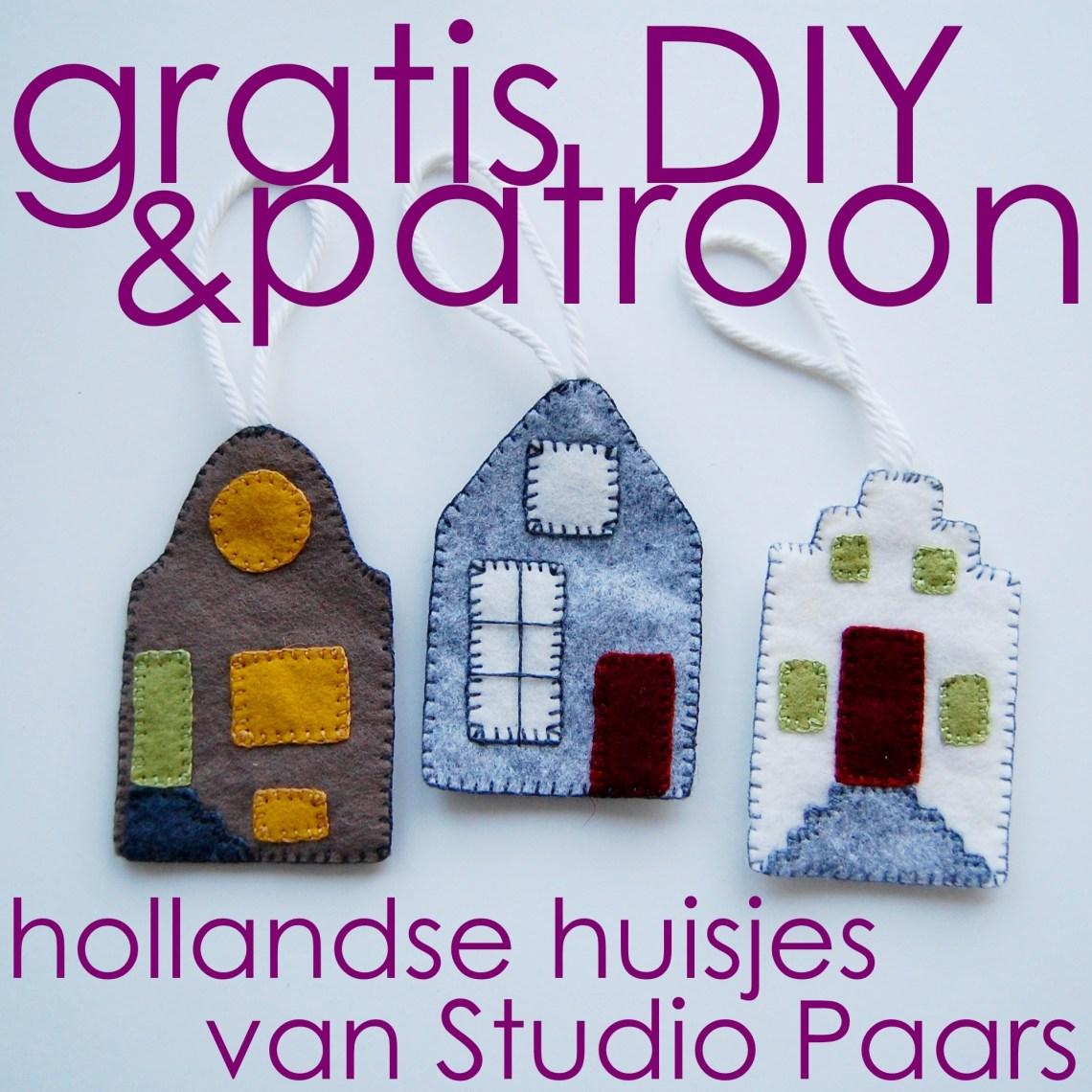 button voor het gratis vilt patroon hollandse huisjes van studio paars