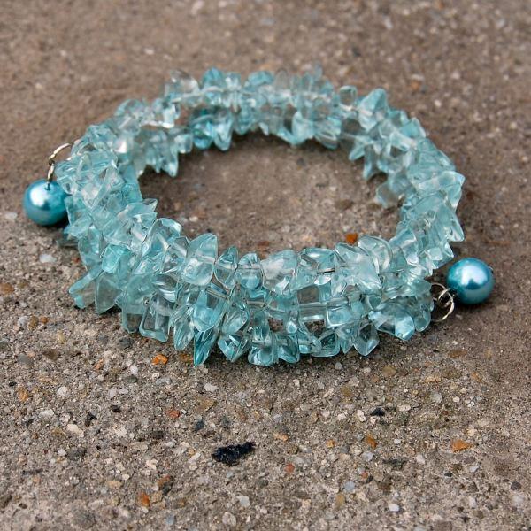 spiraalarmband blauw glas door studio paars