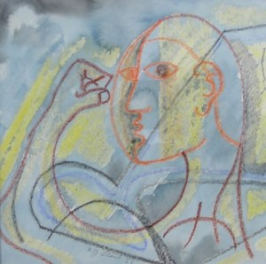 R. J. Lloyd (1926 - 2020) The Athlete 1951. Framed mixed media on paper signed and dated. Image dimensions: 16.5 by 16.5 cm (6.5 by 6.5 inches). Price: £380