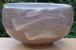 Bill Marshall large stoneware bowl with hakeme decoration. Made in the late 1990s.
