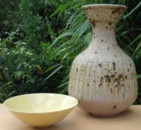 Poh Chap Yeap porcelain bowl and stoneware vase.