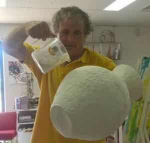 Julian glazing a pot recently