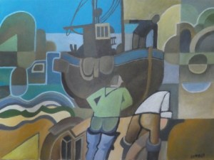 Colin Fifield (b. 1940) - Trained at the Slade School & Camberwell. Hauling in the Boats No.2, Hastings oil on canvas (unframed). Dimensions: 30.0 cm by 40.0 cm (11.8 by 15.75 inches). Price: £245