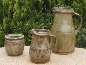 Richard Batterham jugs and a jam jar