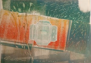 Lorenz (b. 1933 in Germany) Space 1987 – oil on photographic paper. Signed and dated bottom left. Dimensions: 29.8 cm by 41.7 cm (11.7 inches by 16.4 inches). £245