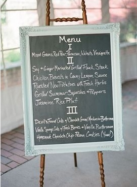 Custom Framed Chalkboard Wedding Menu // Studio 3 Framing