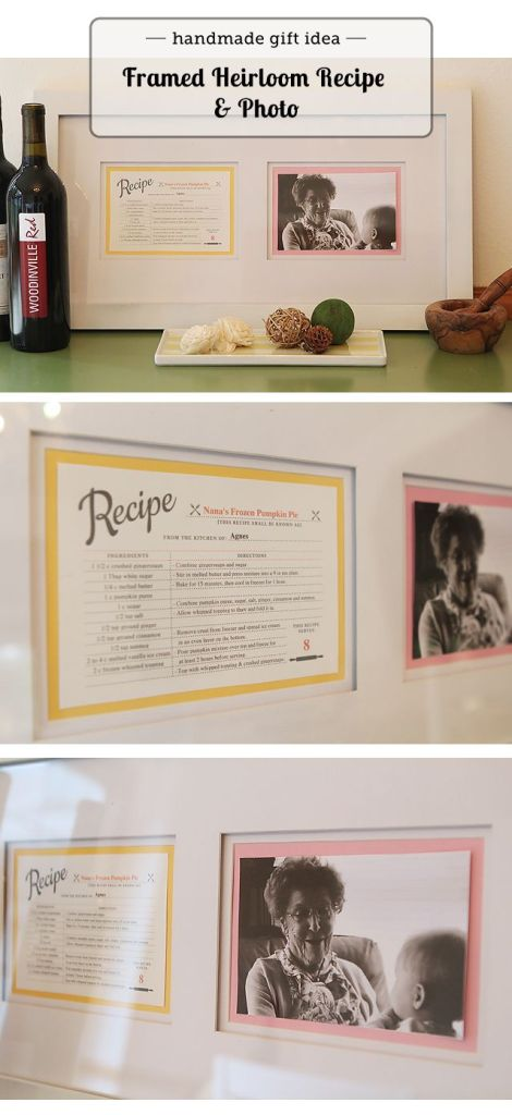 Custom Framed Heirloom Recipe