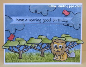 Have a Roaring Good Birthday Materials used: Stamps – Bon Voyage, Critters on the Savanna (Lawn Fawn); Cardstock – Knight; Vellum; Distress Inks;  Distress Markers and Googly eyes (brand unknown).
