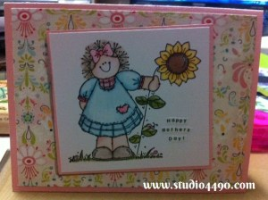 Happy Mother's Day! Materials used:  Stamp - Flower Friend 508H (Penny Black); Distress Markers, Cardstock - American Crafts, Knight; Designer Paper - Basic Grey.