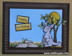 Hoppy Birthday Materials used:  Stamps - Critters Down Under; Critters on the Savanna, Happy Haunting (Lawn Fawn); Distress Inks, Distress Markers; Cardstock - American Crafts, Knight; Patterned Paper - Amy Tangerine.