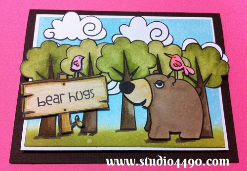 Bear Hugs Materials used: Stamps – Forest Whimsy, Happy Camper, Summer Groves (Paper Smooches); Cardstock – American Crafts, Knights; Distress Inks and Distress Markers.