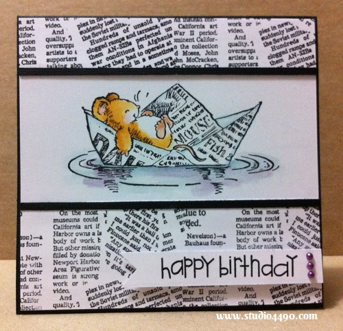Happy Birthday Materials used: Stamps - Floating Dreams 1645K (Penny Black), Newspaper Background PL-704 (Posh Impressions); Sentiment Sampler (Paper Smooches); Distress Markers; Cardstock - American Crafts, Knight; and Mini Pearls - Spring Assortment (doodlebug design).