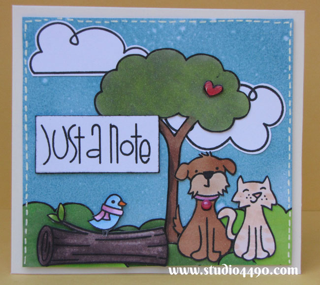 Just a Note: Materials used: Stamps - Bon Voyage, Critters in the 'Burbs, Critters in the Forest, Making Frosty Friends (Lawn Fawn); Sentiment Sampler (Paper Smooches); Distress Inks; Copic Markers and Glossy Accents (Ranger).