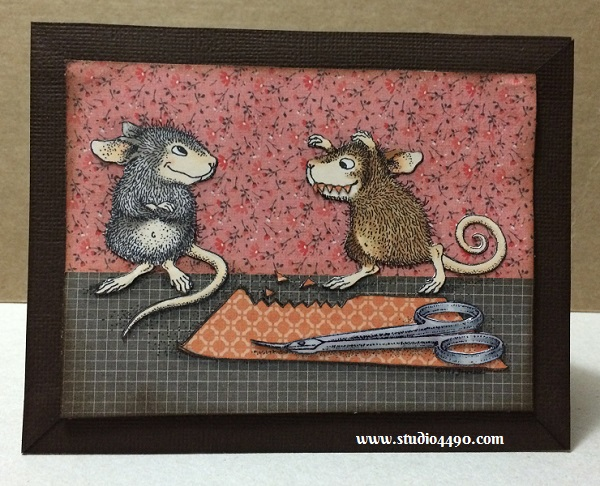 """Monster-ous Fun Materials used: Stamps - Monster Mouse (House Mouse, Stampa Rosa); Cardstock - American Crafts; Designer Paper - 6-1/2"""" Paper Pad - Hello Sunshine (KAISERCraft); Copic Markers and Glossy Accents."""
