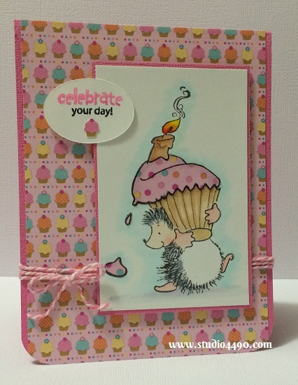 Celebrate Your Day! Materials used: Stamps – Sweet & Cute (Penny Black); Designer Paper – Sugar Shoppe 6×6 Paper Pad (doodlebug design inc.); Cardstock – doodlebug design inc.; Bakers Twine (Creativ); Copic Markers; Dies – Silhouette and Wink of Stella.