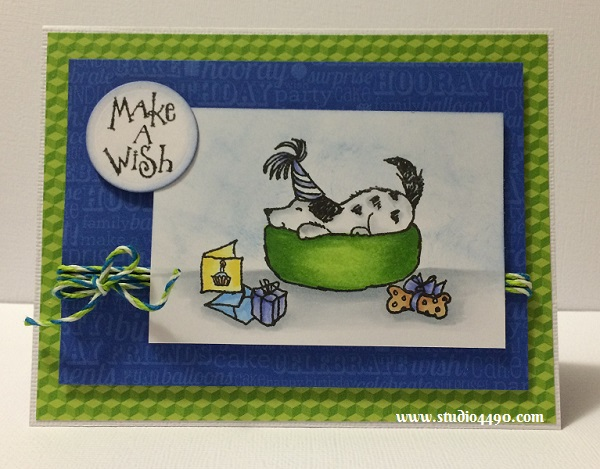 Make A Wish Materials used: Stamps - Birthday Party (Penny Black); Cardstock - American Crafts, Knights; Designer Paper - Hip Hip Hooray 6x6 Paper Pad (Doodlebug Design); Copic Markers, Distress Ink and Lawn Trimmings (Lawn Fawn).
