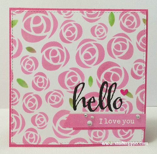 Hello I Love You Materials used: Stamps - The Big, The Bold and the Happy (Winnie & Walter);  Cardstock - American Crafts, Doodlebug Design, Knights Smooth; Stencil - KaiserCraft; Dies - Die-namics Blueprints 8 (My Favourite Things); Copic Markers, Hero Arts Shadow Inks, Sprinkles Shapes - Hearts (Doodlebug Design), Rhinestones - Silver (KaiserCraft) and Wink of Stella.