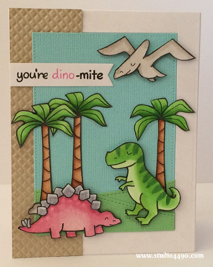 You're Dino-mite Materials used: Stamps - Critters from the Past (Lawn Fawn); Dies - Custom Panels Die (Avery Elle), Project Life (Becky Higgins), Stitched Hillside Borders (Lawn Fawn), Pierced Rectangle Stax (MFT); Embossing Folder - Waffle (Sizzix); Cardstock - American Crafts, Knights Smooth, Unknown;  Copic Markers and Wink of Stella.