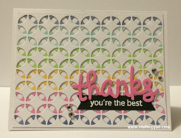 Thanks, you're the best Materials used:  Stamps - A Little Sentimental (Clearly Besotted); Dies - Stained Glass (KaiserCraft), Scripty Thanks (Lawn Fawn); Hero Arts Shadow Inks (Hero Arts); Cardstock - American Crafts and Rhinestones (KaiserCraft).