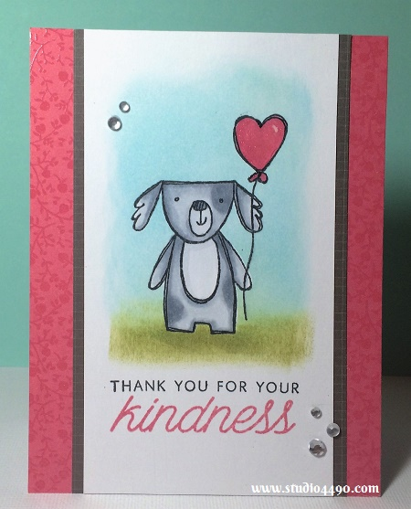 Thank you for your kindness Materials used: Stamps - Friendly Pets (CTMH), Acts of Kindness (Hero Arts); Copic Markers, Designer Paper - Happy Snaps (KaiserCraft), Distress Ink (Tim Holtz/Ranger), Glossy Accents (Ranger) and Rhinestones (KaiserCraft).