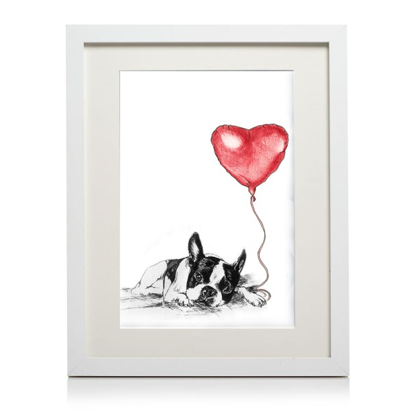 A4 framed boston terrier heart print