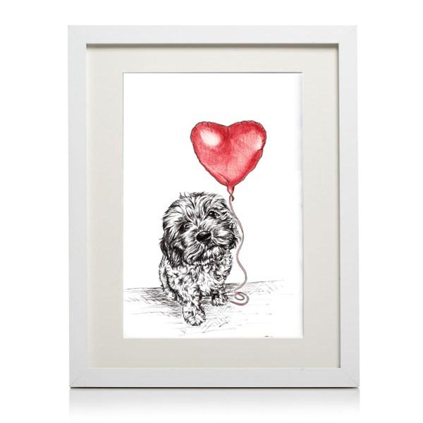 A4 framed cavapoo heart print