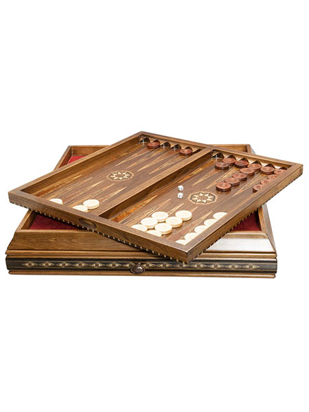 Marquetry Board & Backgammon 53cm in Case with Sliding Drawer