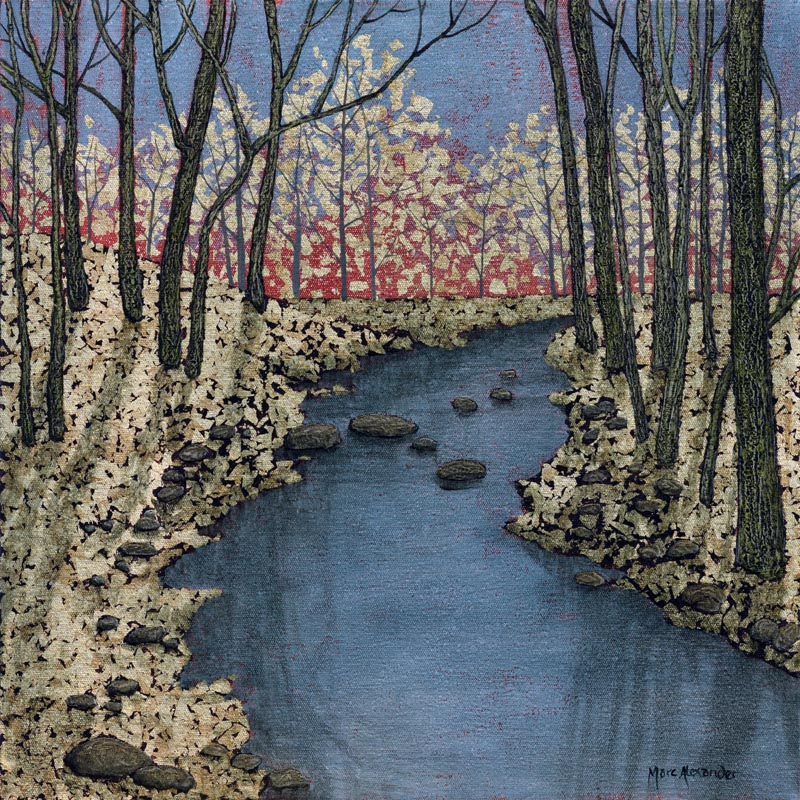 Forest Stream I by Marc Alexander, oil and silver leaf on canvas, 40cm by 40cm, (2014)