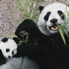 Giant Pandas by Marc Alexander, oil and silver leaf on canvas, 90cm by 120cm, (2015).