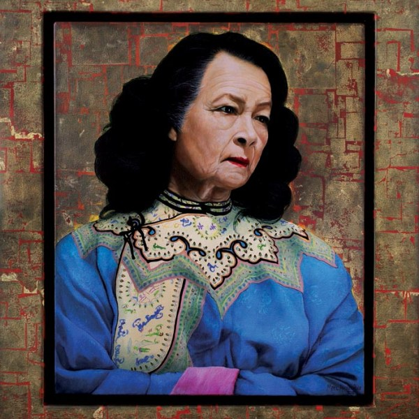 Monika Pon by Marc Alexander, oil and gold leaf on canvas, 60cm by 50cm, (2012).
