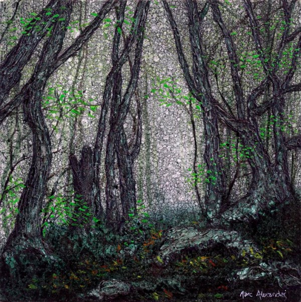 The Secret Path by Marc Alexander from his 'The Secret Forest Series', oil on wooden panel, 17cm by 17cm, (2014).