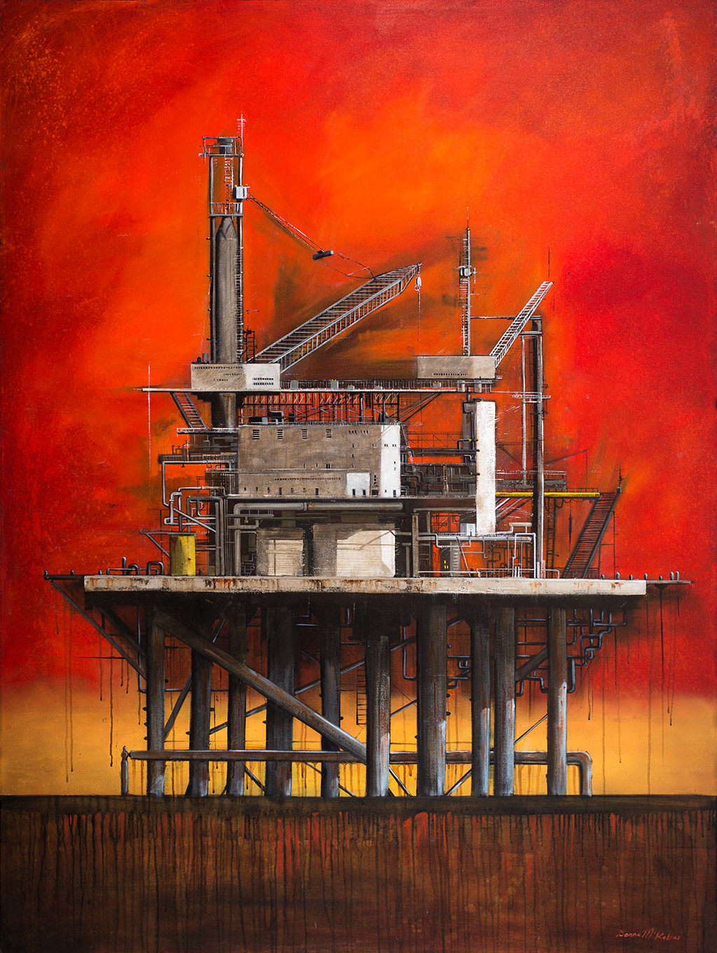 Oil Rig 1 (674) by Donna Mckellar, artist print on canvas.