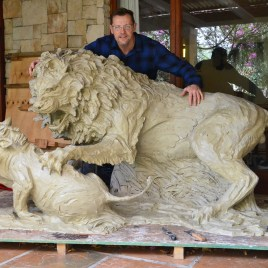 The Studio Art Gallery - Richard Gunston Sculptures - Lion and Warthog by Richard Gunston