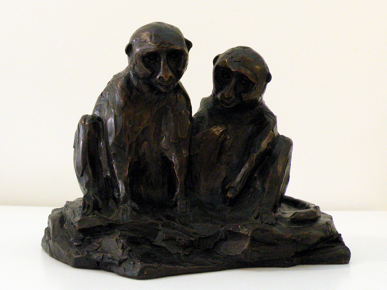 The Studio Art Gallery - Richard Gunston Sculptures - Vervet Pair Detail 1
