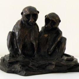 The Studio Art Gallery - Richard Gunston Sculptures - Vervet Pair Detail 1