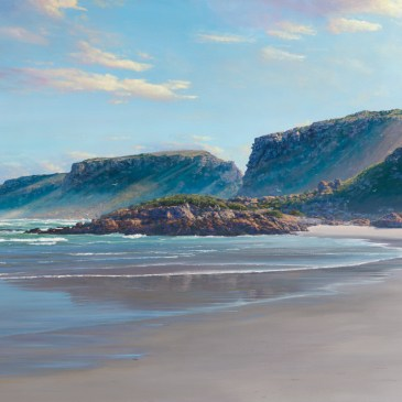 Andrew Cooper | The Studio Art Gallery - The walk from the island, Robberg Nature Reserve, Plettenberg Bay, 130cm by 75cm, Acrylic on Canvas