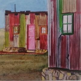 The Studio Art Gallery   2021 Mandela Day Block Art Exhibition   Dalene Pretorius- Red-Green Shack