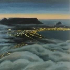 The Studio Art Gallery   2021 Mandela Day Block Art Exhibition   Phyllida Louw - Dusk Over Table Mountain
