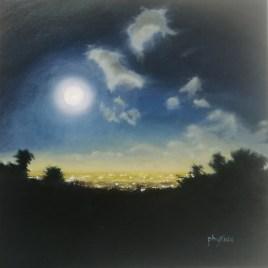 The Studio Art Gallery   2021 Mandela Day Block Art Exhibition   Phyllida Louw - Moonrise From Kirstenbosch II