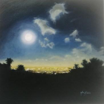 The Studio Art Gallery | 2021 Mandela Day Block Art Exhibition | Phyllida Louw - Moonrise From Kirstenbosch II