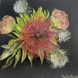 The Studio Art Gallery   2021 Mandela Day Block Art Exhibition   Sally Perrot - Pink and Red Pincushion