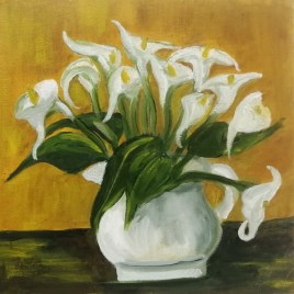 The Studio Art Gallery   2021 Mandela Day Block Art Exhibition   Sue Beatty - Arum Lilies I