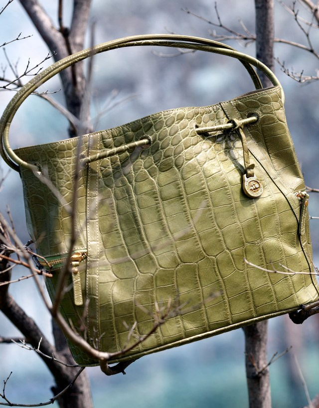 Gold alligator bag