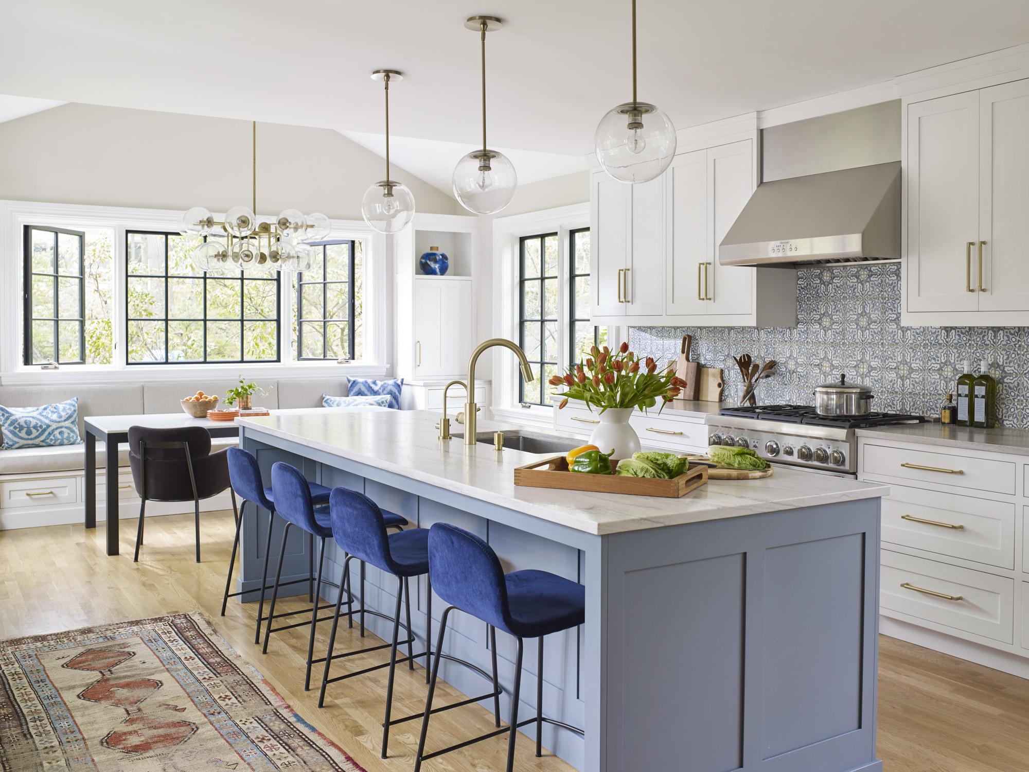 rad white and blue tile for your kitchen floor backsplash or islandstudio dearborn interior design