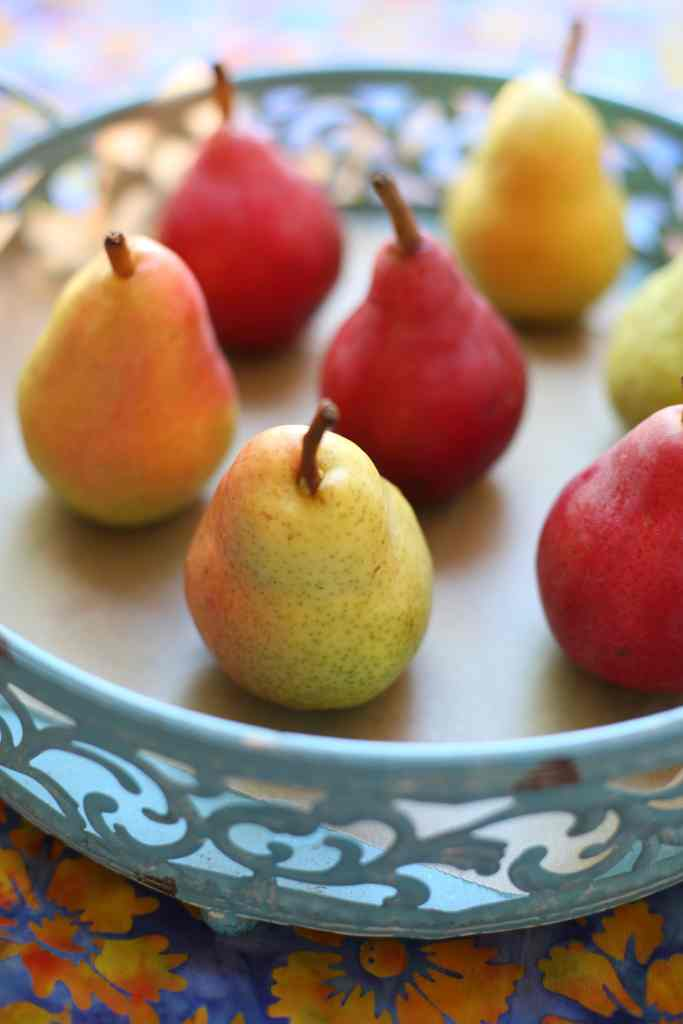 Bartlett Pears on a blue plate